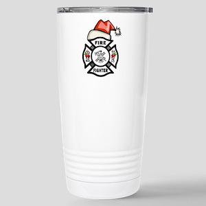 Firefighter Santa Stainless Steel Travel Mug