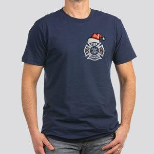 Firefighter Santa Men's Fitted T-Shirt (dark)