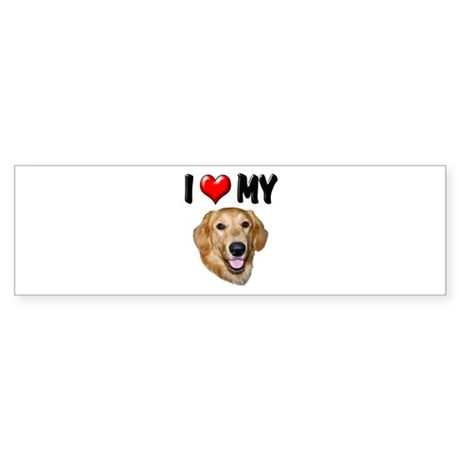 I Love My Golden Retriever 2 Sticker (Bumper)