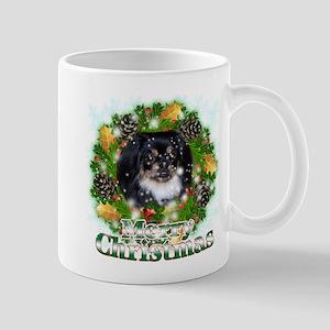 Merry Christmas Pekingnese Black Mug