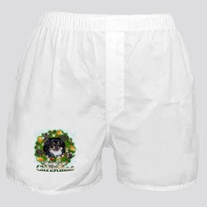 Merry Christmas Pekingnese Black Boxer Shorts