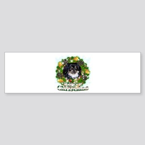 Merry Christmas Pekingnese Black Sticker (Bumper)