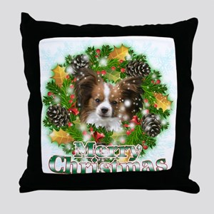 Merry Christmas Papillon Throw Pillow