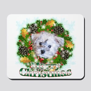 Merry Christmas Schnoodle Mousepad