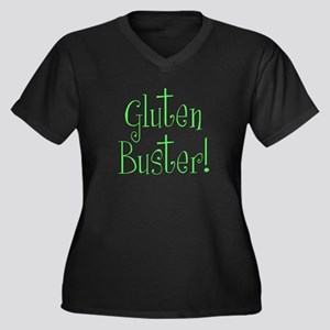 Gluten Busters Women's Plus Size V-Neck Dark T-Shi