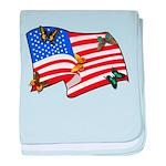 American Flag Butterflies baby blanket