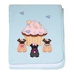 Pug Dog Cupcakes baby blanket