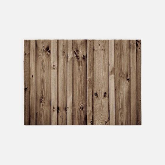 rustic farmhouse barn wood 5'x7'Area Rug