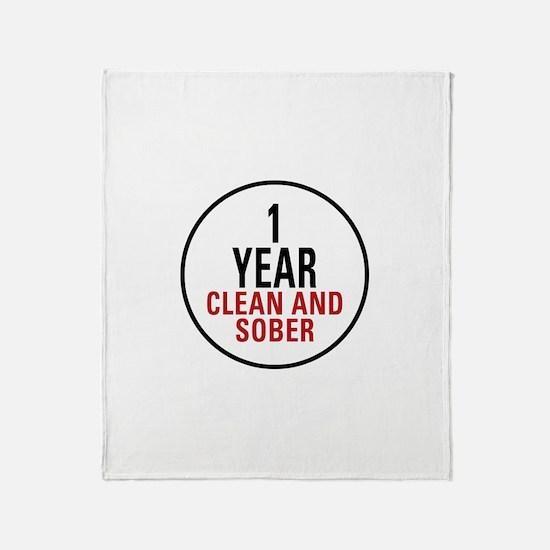 1 Year Clean & Sober Throw Blanket