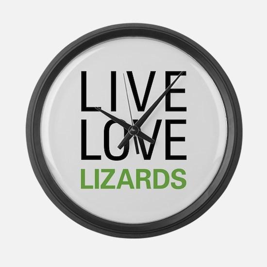Live Love Lizards Large Wall Clock