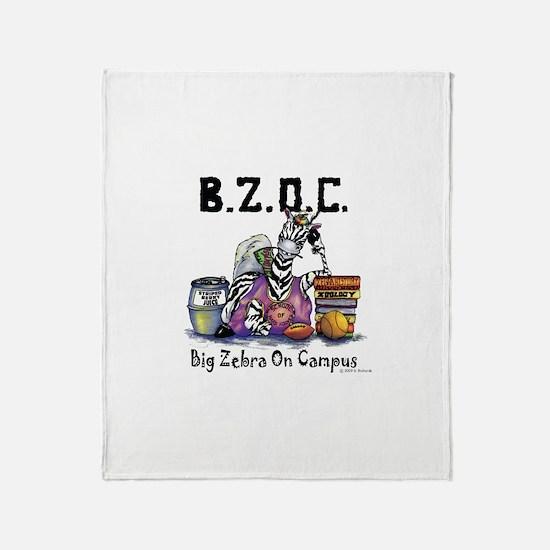 Big Zebra On Campus Throw Blanket
