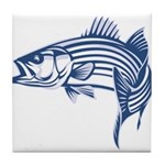 Graphic Striped Bass Tile Coaster