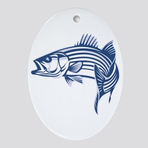 Graphic Striped Bass Ornament (Oval)