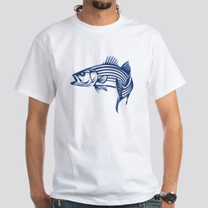 Graphic Striped Bass White T-Shirt