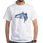 Graphic Striped Bass White T-Shirt