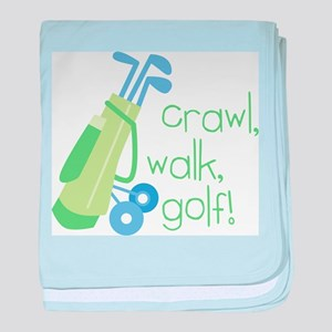 Crawl, Walk, Golf! baby blanket