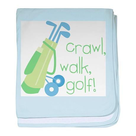 Crawl, Walk, Golf! baby blanket