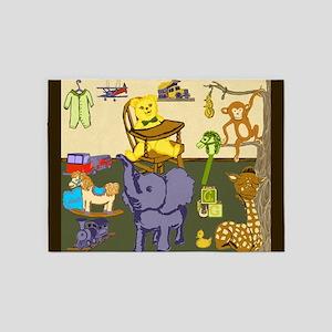 Baby Boy Nursery Room Toys 5'x7'Area Rug