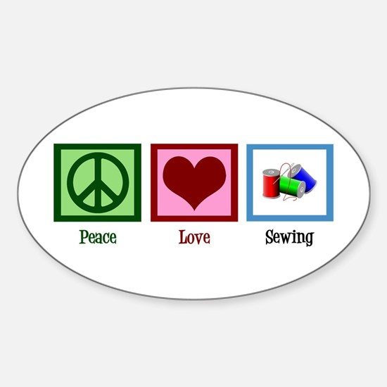 Peace Love Sewing Sticker (Oval)