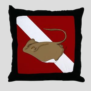 SCUBA stingray Throw Pillow