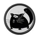 Cute Black Cat Large Wall Clock