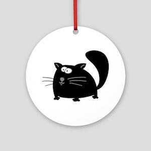 Cute Black Cat Ornament (Round)