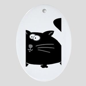 Cute Black Cat Ornament (Oval)
