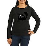 Cute Black Cat Women's Long Sleeve Dark T-Shirt