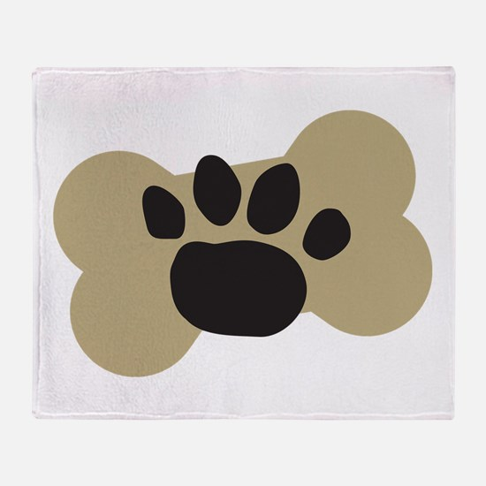 Dog Lover Paw Print Throw Blanket