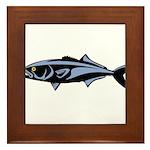 Graphic Blue Fish Framed Tile