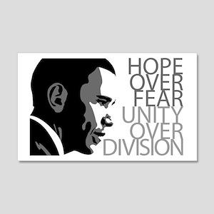 Obama - Hope Over Division - Grey Sticker (Rectang