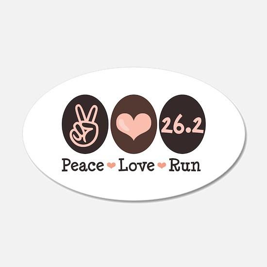 Peace Love Run 26.2 Marathon 20x12 Oval Wall Peel