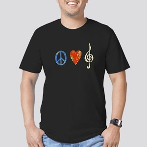 peace, love ,music D Men's Fitted T-Shirt (dark)