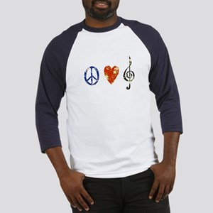 peace, love ,music D Baseball Jersey