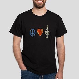 peace, love ,music D Dark T-Shirt