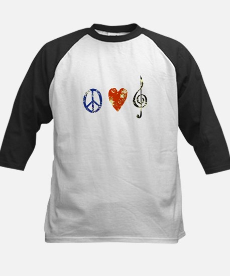 peace, love ,music D Kids Baseball Jersey