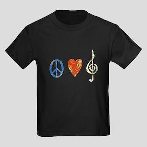 peace, love ,music D Kids Dark T-Shirt