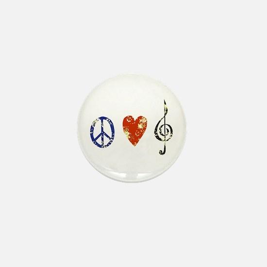 peace, love ,music D Mini Button