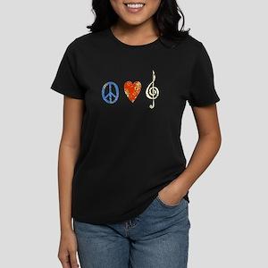 peace, love ,music D Women's Dark T-Shirt