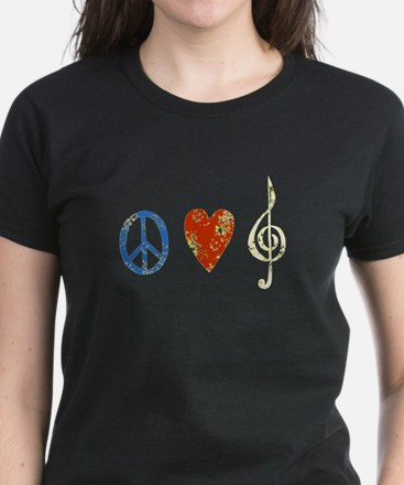 peace, love ,music D Women's Dark T-Shirt