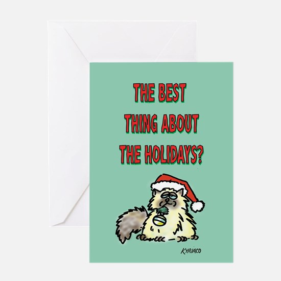 Holiday Fat Cat Greeting Card