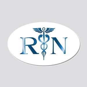 RN Nurse Caduceus 20x12 Oval Wall Peel
