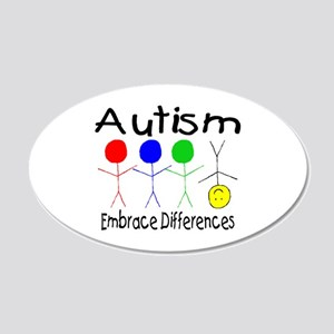 Autism, Embrace Differences 20x12 Oval Wall Peel