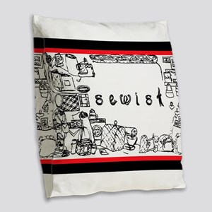 Sewist fabric font sewing border white black red B