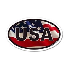 USA 20x12 Oval Wall Peel with American Flag Backgr