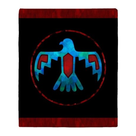 Blue & Red Thunderbird Throw Blanket