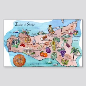 Map Of Sicily Sticker (Rectangle)