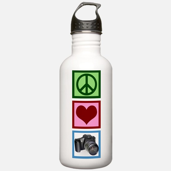 Peace Love Photography Water Bottle