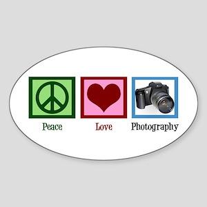 Peace Love Photography Sticker (Oval)