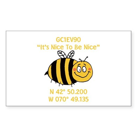 Bee Geocache Sticker (Rectangle)